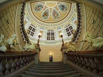 National Museum of Slovenia - Staircase with ceiling.