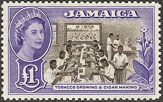 British Library Philatelic Collections - Unissued 1956 £1 Jamaican chocolate and violet, the first stamp designed for Queen Elizabeth II. Held in the British Library Crown Agents Collection.