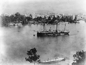 HMS Egeria (1873) - Egeria on the Brisbane River in 1889