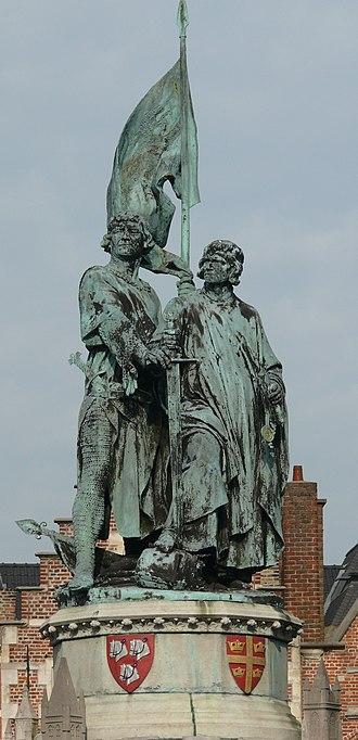 Pieter de Coninck - Statue of Jan Breydel and Pieter de Coninck in Bruges, Belgium