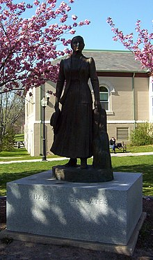 photograph of a statue of Katharine Lee Bates at the Falmouth Public Library