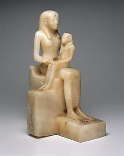 Statuette of Queen Ankhnes-meryre II and her Son, Pepy II, three quarter view.jpg