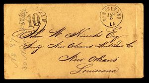 Blockade runners of the American Civil War - Blockade-runner mail to New Orleans via Nassau, Bahamas, stamped incoming ship 10-cents postage due