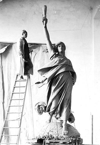 Stephan Sinding - Sinding  during work on the sculpture Electra for the new headquarters of the Great Northern Telegraph Company on Kongens Nytorv in Copenhagen, c. 1893