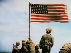 2nd Battalion, 28th Marines - Movie caption of members of the 2nd Battalion, 28th Marines planting the U.S. flag atop Mount Suribachi