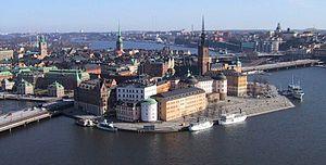 Birger Jarls torn - View of Riddarholmen from the Stockholm City Hall centred on Birger Jarls torn.