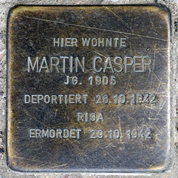 Photo of Martin Casper brass plaque