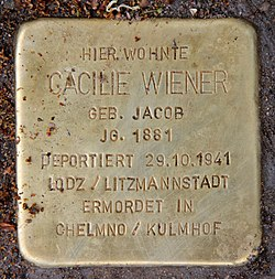 Photo of Cäcilie Wiener brass plaque