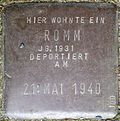 Stumbling stone for a Romm, stone no.  100 (Holzmarkt 1)