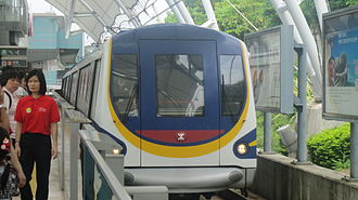 Platform screen doors - Half-height platform gates at Sunny Bay Station on the Disneyland Resort Line in Hong Kong