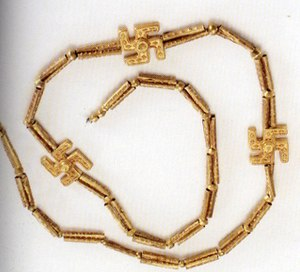 Swastika -  A 3,200 year old swastika necklace excavated from Marlik, Gilan province, northern Iran