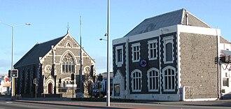 Sydenham, New Zealand - The historic Sydenham Post Office and the Sydenham Heritage Church