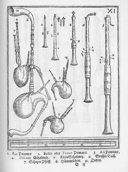 Ilustración del Syntagma Musicum de Michael Praetorius, mostrando la familia del Pommer, antecedente del oboe moderno. Del 1 al 5, marcan las bombardas; el resto, son gaitas.