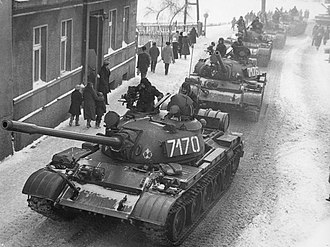 Martial law in Poland - A column of T-55 tanks enters the town of Zbąszynek while moving east towards the city of Poznań, December 13, 1981