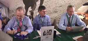 2014 Belmont Stakes - Triple Crown-winning jockeys at 2014 Belmont Stakes. Left to right:  Ron Turcotte, rider of Secretariat (1973), Jean Cruguet, rider of Seattle Slew (1977), Steve Cauthen, rider of Affirmed (1978