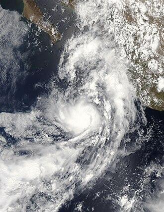 2009 Pacific hurricane season - Image: TD 01E 2009 peak intensity vis