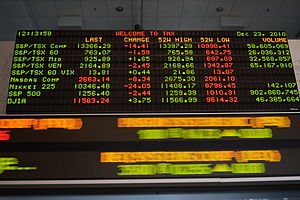 Toronto Stock Exchange - TMX's LED board displaying TSX information