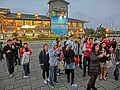 TW 新台北 淡水漁人碼頭 Tamsui Fisherman's Wharf evening mall visitors Feb-2013.JPG
