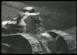 "Primitive tanks advance over empty fields and berms, captioned ""The tanks advance to do their bit."""