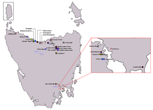 Australian rules football in Tasmania - A map showing the location of major past and present clubs in the statewide league, TANFL/TFL, NTFA and NWFU
