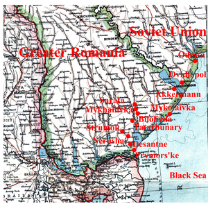 Tatarbunary uprising - Budjak, southern Bessarabia. Locations of the rebellion are shown in red.