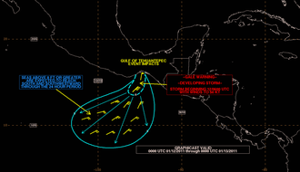 Tehuantepecer - A graphicast issued by TAFB for a January 11–12, 2011 Tehuantepecer