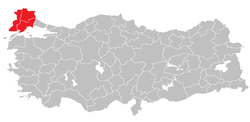 Location of Tekirdağ Subregion