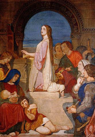 "Self-parody - Tenniel's fresco on John Dryden's ""Song for Saint Cecilia's Day"", c. 1849"
