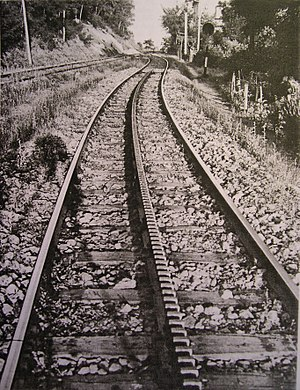 Rack railway - End of the rack in the Saline-Volterra railway, built with the Strub system