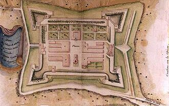 Baldassarre Lanci - A plan of Lanci's new city at Terra del Sole.  Its geometric layout was to prove an early example of modern town planning, later popularised during the Baroque period