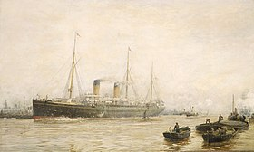 Il Teutonic lascia Liverpool (dipinto di William Lionel Wyllie)