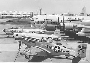 136th Airlift Wing - Airshow display (1964) of four Generations of 136th Airplanes. Shown, KC-97L Stratotanker; North American F-86D-60-NA Sabre 53-1030 (F-86L) now on display at NAS Fort Worth, TX; Lockheed P-80B-1-LO Shooting Star 45-8607; North American P-51D-25-NA Mustang 44-73856 Sold to private owner