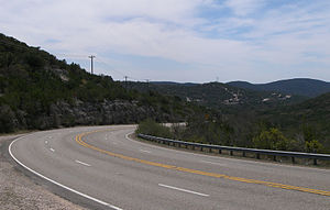 Texas State Highway 55 - Highway 55 winding through the  Hill Country about twelve miles southeast of Rocksprings