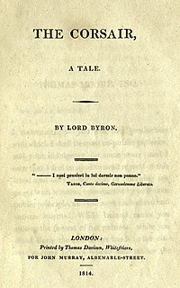 <i>The Corsair</i> 1814 tale in verse by George Gordon Byron
