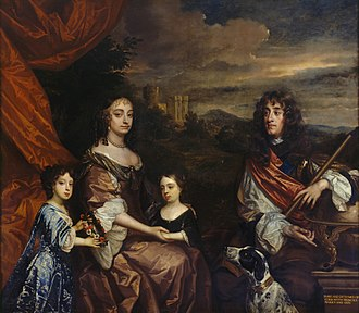 Anne, Queen of Great Britain - Anne (centre) and her sister Mary (left) with their parents, the Duke and Duchess of York, painted by Peter Lely and Benedetto Gennari II