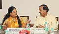 The Minister of State for Culture (Independent Charge), Tourism (Independent Charge) and Civil Aviation, Dr. Mahesh Sharma in a meeting with the Chief Minister of Rajasthan, Smt. Vasundhara Raje, in New Delhi (1).jpg