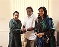 The Minister of State for Information & Broadcasting Shri M. H. Ambareesh and his wife Smt. Sumalatha calls on the Union Minister for Information & Broadcasting and Parliamentary Affairs, Shri Priyaranjan Dasmunsi.jpg