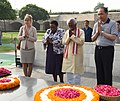 The Minister of State for Labour and Employment (Independent Charge), Shri Bandaru Dattatreya paying homage along with counterparts from BRICS at the Samadhi of Mahatma Gandhi, at Rajghat, in Delhi on September 28, 2016.jpg