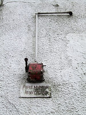 Fireman's switch - The Phoenix, Spilsby On the cinema façade is the Fireman's Switch, presumably to turn all the electrics off.