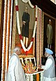 The Prime Minister, Dr. Manmohan Singh paying homage at the portrait of Baba Saheb, Dr. B. R. Ambedkar, on the occasion of his 117th Birth Anniversary, at Central Hall, Parliament House, in New Delhi on April 14, 2008.jpg