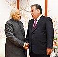 The Prime Minister, Shri Narendra Modi meeting the President of the Republic of Tajikistan, Mr. Emomali Rahmon, on the sidelines of the Shanghai Cooperation Organisation (SCO) Summit, in Qingdao, China on June 09, 2018.JPG