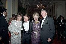 Nancy McKeon, Michael J. Fox, Nancy Reagan, and then-United States President Ronald Reagan in October 1985