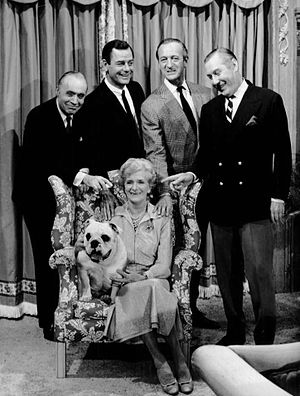 The Rogues (TV series) - Cast of the program for its 1964 premiere (Charles Boyer, Gig Young, David Niven, Robert Coote, and Gladys Cooper)