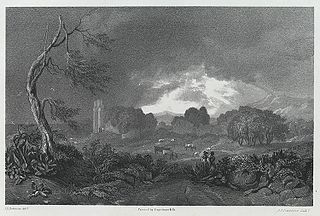 The Ruins of Caldecut Castle: from the East, Monmouthshire, a storm
