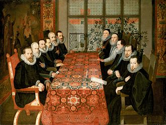 The Somerset House Conference between English and Spanish diplomats that brought an end to the Anglo-Spanish War (1585-1604). The Somerset House Conference 19 August 1604.jpg