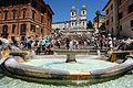 The Spanish Steps, as seen from the Fontana della Barcaccia in the Piazza di Spagna, Sallustiano obelisk against background of the Church of the Santissima Trinità dei Monti. Rome, Italy.jpg