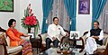 The Union Minister for Agriculture and Farmers Welfare, Shri Radha Mohan Singh meeting the Chief Minister of Mizoram, Shri Lal Thanhawla, in Aizawl, Mizoram on June 18, 2016.jpg