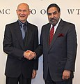 The Union Minister for Commerce and Industry, Shri Anand Sharma meeting the Director General, WTO, Mr. Pascal Lamy, in Geneva on October 20, 2010.jpg
