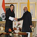 The Vice President, Shri Mohd. Hamid Ansari meeting the King of Bhutan, His Majesty Jigme Khesar Namgyel Wangchuck, in New Delhi on January 25, 2013.jpg