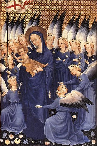 Emblem - The Wilton Diptych (c. 1395–99) features angels wearing white hart (a deer), the personal emblem of King Richard II of England.